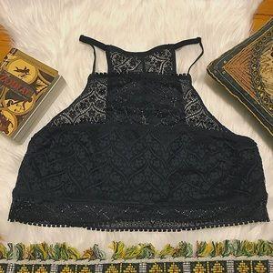 High neck black lace bralette xl aerie